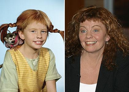 La actriz Ingrid Nilsson con 9 años cuando interpretó a Pippi Långstrump y con 27, tres más de los que  tiene Lisbeth en la saga.